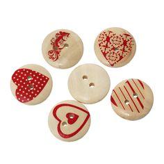 10 Round Wooden Heart Buttons 20mm