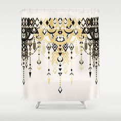 Buy Shower Curtains Featuring Modern Deco In Black And Cream By Micklyn Made From Easy Care Polyester Our Designer Are Printed The USA
