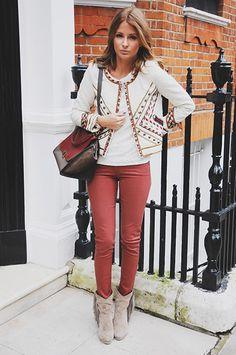 Millie Mackintosh gorgeous: Isabel Marant jacket, red jeans, Celine bag