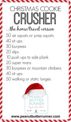 2014 Christmas Cookie Crusher Workout {Gym Home Versions} - Peanut Butter Runner Crossfit At Home, At Home Gym, Fun Workouts, At Home Workouts, Body Workouts, Circuit Workouts, Office Workouts, Cardio, Weight Workouts