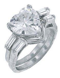 Silver Wedding Rings Heart Cubic Zirconia CZ Band Set Ring Size 8 9 USA Seller