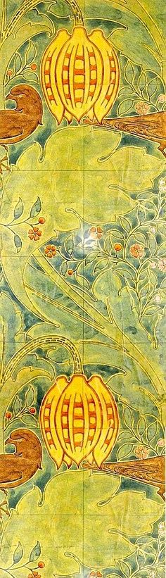 Wallpaper design by C F A Voysey, produced by Essex & Co in 1905