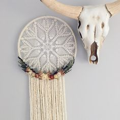 The Emmylou Large Doily Dreamcatcher // bohemian decor // boho // dried flowers // floral wall hanging