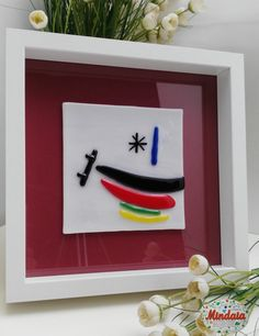 Cuadro Miró vidrio fusion. Miró fusionglass. por ElRincondeMindaia
