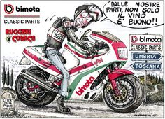With great pride we announce the beginning of cooperation between the exceptional cartoonist Luca Ruggeri and Paolo Girotti: many innovations are coming from the union 'Ruggeri Comics' - 'Bimota Classic Parts'. Exclusive 'Bimota Classic Parts' the most prestigious Bimota's model will animate a series of sketches.