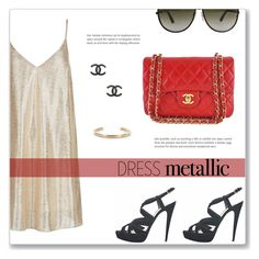 """""""Dress Metallic"""" by snobswap ❤ liked on Polyvore featuring New Look, Miu Miu, Chanel, Tom Ford, Michael Kors and louisvuitton"""