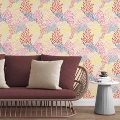 Colorful Dots Removable Wallpaper, Pastel Wall Decal, Pretty Pattern Peel and Stick, Living Room Decor, Bright Wall Cling, Nursery Mural - Smooth Wall Decal / 1 roll: 24W x 132H