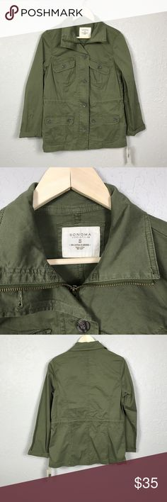 {Sonoma} Army Jacket Sonoma size small, green army military jacket. Full zip with pockets. New with tags. Sonoma Jackets & Coats Utility Jackets