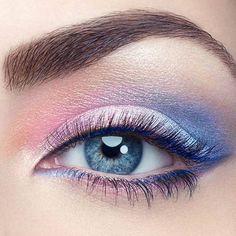 #pantone 2016 eye makeup - rose quartz + serenity blue