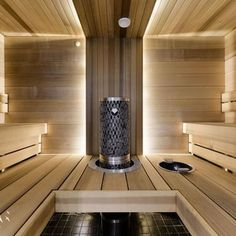 Saunas are now a favorite place for some people to relieve fatigue and fatigue after busy days. So, the weekend choice for them is a sauna to help them relax rather than just being and resting at home. Sauna Steam Room, Sauna Room, Saunas, Basement Sauna, Black And Silver Wallpaper, Sauna Lights, Building A Sauna, Outdoor Sauna, Sauna Design