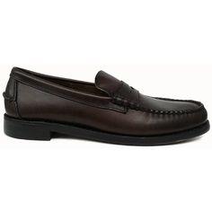 Zapato mocasín beefroll con antifaz en piel engrasada color marrón de Sebago vista lateral
