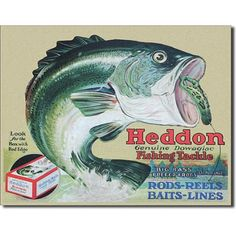 old fishing posters | Title: Heddon Fishing Tackle Retro Vintage Tin Sign