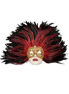 Piuma rossa Grande Volto stucco oro Venetian Mask