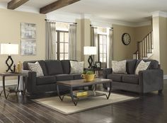 Alena Charcoal Sofa and Loveseat Set Includes: Sofa and Loveseat
