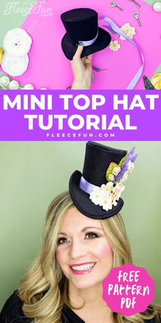 Learn how to make a mini top hat with this free pattern and tutorial. I love that there is a sew and no sew option. The free template makes this costume idea easy to make at home. Hat Tutorial, Barrette Clip, General Crafts, Old Jewelry, Easy Sewing Projects, Free Pattern, Crochet Hats, Costumes, Template