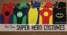 """NO SEW SUPERHERO COSTUMES 1/2 yd felt (Felt is not recommended to be put in the washer or dryer). You could substitute a heavy cotton or muslin. Sheets of craft felt in colors needed to costume design {ie. 1 piece of yellow felt for Batman symbol} Fabric paint or markers Four 12"""" pieces of ribbon Elastic 14"""" of 1/4"""" Scissors Hot glue gun Glue sticks Optional sewing machine and accessories"""