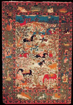 "Antique Tabriz pictorial rug, Azerbaijan, ""Khosrow & Shirin hunt together"", early 20th century"