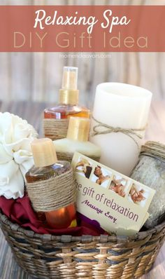 Relaxing spa DIY gift basket - a great gift for moms!
