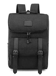 Weekend Shopper Lightweight Canvas Backpack Laptop Rucksack Bookbag Knapsack for School Outdoor Travel Hiking BLACK