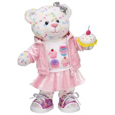 I Heart Cupcakes Confetti Cupcake Bear - Build-A-Bear Workshop Build A Bear Outfits, Build A Bear Clothes, Matilda, Bear Gallery, Custom Teddy Bear, Bear Shop, Sock Animals, Cute Teddy Bears, Doll Face