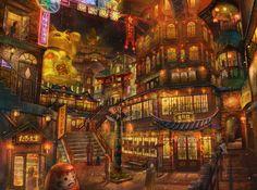 works Fantasy City, Fantasy Places, Fantasy World, Anime Places, Anime City, Environment Concept Art, Anime Scenery, Fantasy Landscape, Environmental Art
