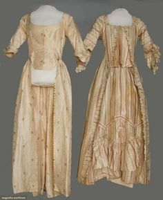 Two cream silk gowns, 1775-1780;  Both Robes a L'Anglaise: One meandering narrow ribbon figured silk with small rose and olive floral brocade, open gown, pinked skirt opening, bodice lined with fine homespun linen; One narrow rose and green striped cream taffeta, ruched self fabric bands and ruched bands with spiral corded centers