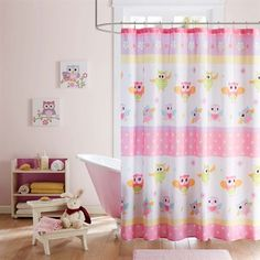 Mi Zone Kids - Hooting Haley Owl Printed Shower Curtain - Pink - X Machine Washable: The Hooting Haley Collection provides a colorful and fun update to your space! Dancing owls cover this shower curtain with multicolor stripes and flowers in pop colors. Home Essence, Shower Curtain, Pink Bedding, Owl Shower, Pink Shower Curtains, Printed Shower Curtain, Curtains, Bed Bath And Beyond, Kids Bathroom Shower