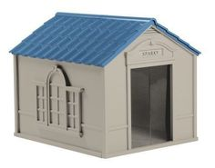 Dog House Durable Resin Shelter Outdoor Kennel Deluxe Weather Resistant Large