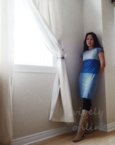 Upcycle T-Shirts into Color Block Dress