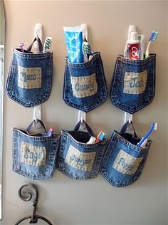 Jean pocket toothbrush holders. Could also use for craft room organizers.