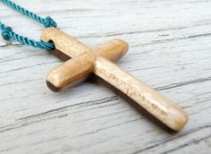 Mens Cross Pendant  Walnut & Maple  Hardwoods