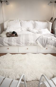 HEMNES day bed with 3 drawers / 2 mattresses - white, Malfors medium firm - IKEA HEMNES bedroom series - IKEAHEMNES daybed frame with 3 drawers, whiteOne month at home // My favorite corner - Cozy Bedroom, White Bedroom, Bedroom Decor, White Ikea Bed, Bedroom Furniture, Ikea Furniture, Trendy Bedroom, Bedroom Bed, Furniture Makeover