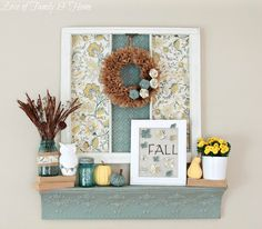 Teal (Aqua) & Yellow #Fall Mantel - I love every little detail - and I love that it's on a shelf, since I don't have a mantel