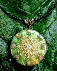 Unakite Orgonite Pendant Talisman- LARGE - EMF Protection and Energy Healing - Heart Chakra Pendant