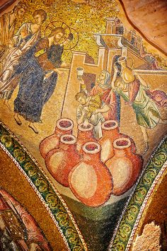 The 11th century Roman Byzantine Church of the Holy Saviour in Chora and its mosaic of the miracle of Christ turning water into wine. Endowed between 1315-1321 by the powerful Byzantine statesman and humanist Theodore Metochites. Kariye Museum, Istanbul | Photos Gallery