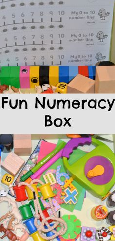 Fun and easy Numeracy Box, lots of great ideas for number based learning