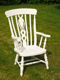 Large Hand Painted Off White Cream Wooden by BerryChicInteriors Painted Dining Chairs, Rocking Chair, Off White, Shed, Hand Painted, Cream, Garden, Painting, Etsy