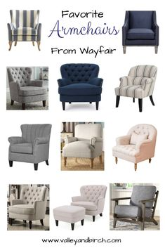 Cozy up your living room with these stylish farmhouse style armchairs. Favourite Armchairs From Wayfair – Valley + Birch Farmhouse Style Furniture, Farmhouse Style Decorating, Farmhouse Decor, Dollhouse Furniture, Home Furniture, Couch And Loveseat Set, Blue Armchair, Living Room Chairs