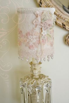 Gorgeous Handmade Lace Lampshade with Vintage Ribbonwork