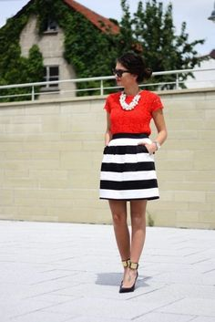 striped full skirt and red shirt