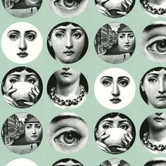 Tema e Variazioni Wallpaper Grey - Now the signature faces by Fornasetti are available on a wallpaper. I especially love the light aqua shad...