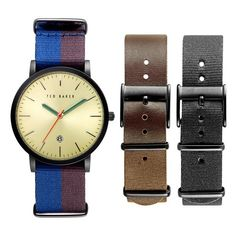 Men's Ted Baker London 'Smart Casual' Leather & Canvas Strap Watch... ($245) ❤ liked on Polyvore featuring men's fashion, men's jewelry, men's watches, mens watches jewelry, blue dial mens watches, mens stainless steel watches, mens leather strap watches and men's blue dial watches