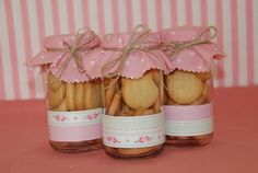 Frascos decorados - Imagui Christmas Cookies, Christmas Gifts, Cookie Packaging, Baby Shower, Ideas Para Fiestas, Jar Gifts, Tea Party, Party Favors, Wedding Gifts