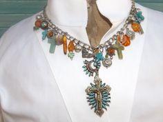 Charm Necklace with Zuni Turquoise Pendant   shabbyfrenchome.com