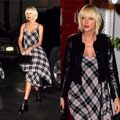 #TaylorSwift rocked a plaid dress for dinner at #AnnaWintour's home last night before the #MetGala tonight! They are co-chairing the event together.