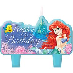 Little Mermaid Birthday Candle Set 4 Pack