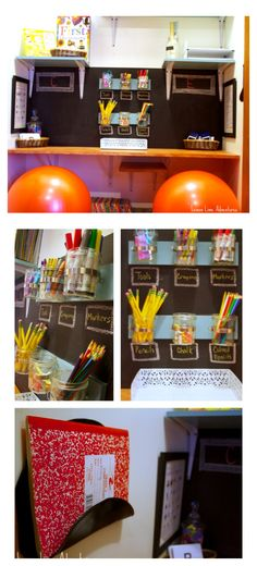 CLOSET WRITING CENTER| Simple Ideas for being intentional with your space for children. Beautiful Writing Area!