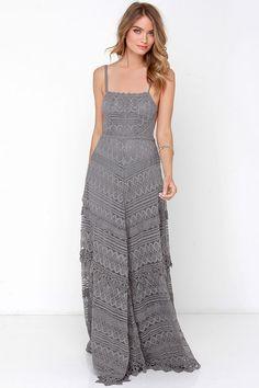 Beneath the Garden Arbor Grey Lace Maxi Dress .