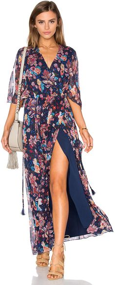 Haute Hippie Flutter Sleeve Maxi Dress