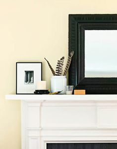 stuff for mantel: have a faux mantle that is in the kitchen of all places. like the idea of a mirror opening things up and layering it with some smaller items
